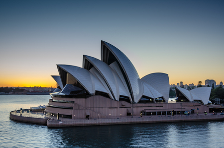 jorn: Sidney, Australia, November 2, 2016 - View of the Sidney Opera House, a multi-venue performing arts center, at sunrise. The famous opera house was designed by Danish architect Jorn Utzon. Editorial