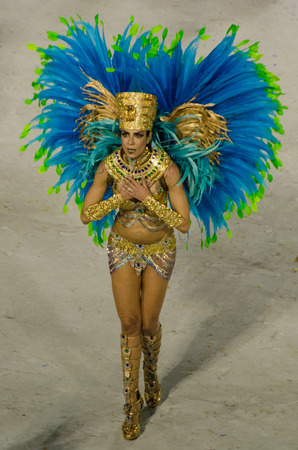 Rio de Janeiro, Brazil, February 26, 2017 – Close-up of a dancer of the Paraiso do Tuiuti Samba School in the carnival parade at the Sambadrome Marques de Sapucai that emphasizes the natural paradise of the interior of the country. Editorial