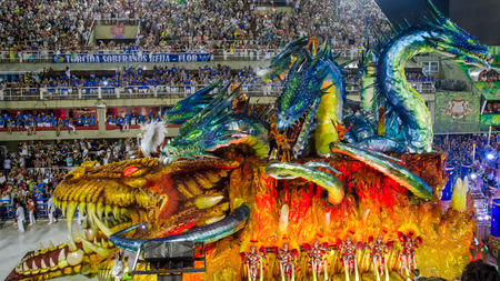 Rio de Janeiro, Brazil, February 26, 2017 – The tropical theme of the Paraiso do Tuiuti Samba School in the carnival parade at the Sambadrome Marques de Sapucai emphasizes the natural paradise of the interior of the country.