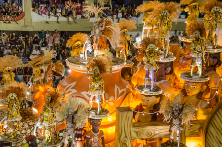 Rio de Janeiro, Brazil, February 26, 2017 – The tropical theme of the Paraiso do Tuiuti Samba School in the carnival parade at the Sambadrome Marques de Sapucai emphasizes the natural paradise of the interior of the country. Editorial