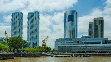 Buenos Aires, Argentina, February 2, 2017 - Puerto Madero waterfront development occupies a major portion of Río de la Platas riverbank and represents the latest architectural trends in the city. Redakční