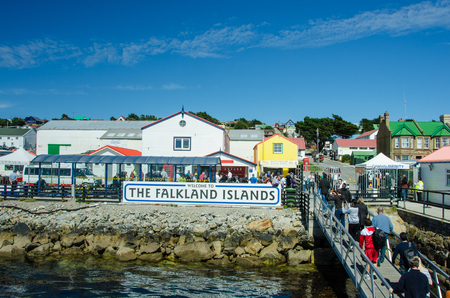 Stanley, Falkland Islands, February 14, 2017: Tourists from cruise ships visit the capital city of the windblown islands in the South Atlantic Ocean on a rare, warm, sunny day. Editorial