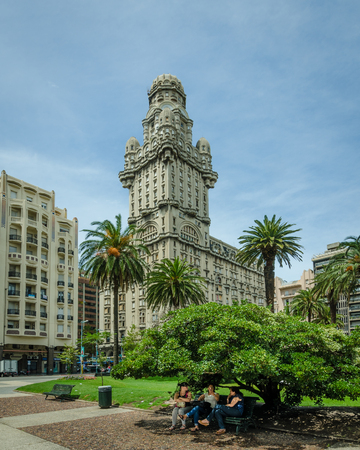 Montevideo, Uruguay, February 18, 201 - Salvo Palace in Independence Square, also known as Palacio Salvo, consists of offices, shops and apartments and was built by the Italian architect Mario Palanti in 1928. Editorial