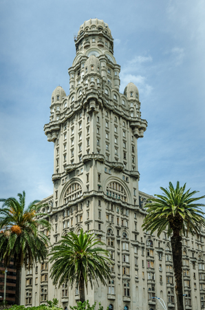 Montevideo, Uruguay, February 18, 2017 - Salvo Palace in Independence Square, also known as Palacio Salvo, consists of offices, shops and apartments and was built by the Italian architect Mario Palanti in 1928. Editorial