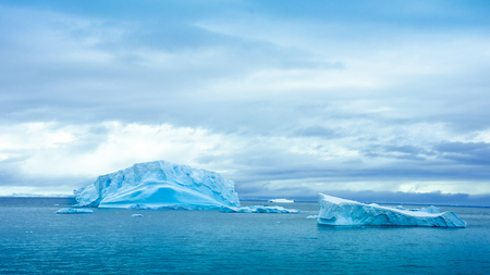 Numerous icebergs of all sizes float in Paradise Bay, a popular area in Antarctica visited by cruise ships. The blue hues in the ice are specific to the ice and snow on the edge of the continent.