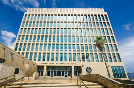 Havana, Cuba, June 20, 2016 - The Embassy of the United States of America was reopened when the United States and Cuba renewed diplomatic relations on July 20, 2015. Editöryel