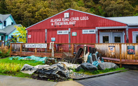 Skagway, Alaska, September 10, 2017 - : The colorful restaurant serves fresh fish to cruise ship passengers visiting this historic town that attracted gold prospectors during the Klondike Gold Rush.