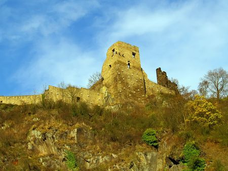 Ruins of medieval fortress Altenahr at top of mountain  photo