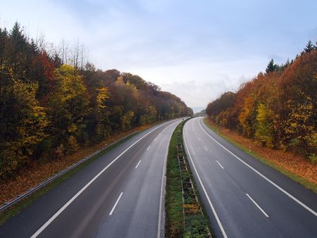 Empty German autobahn in the autumn evening