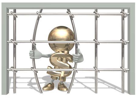 imprisoned: Mr of dollar have imprisoned 3D character Stock Photo