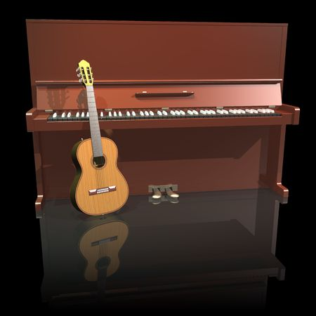 Piano and guitar on a black background photo