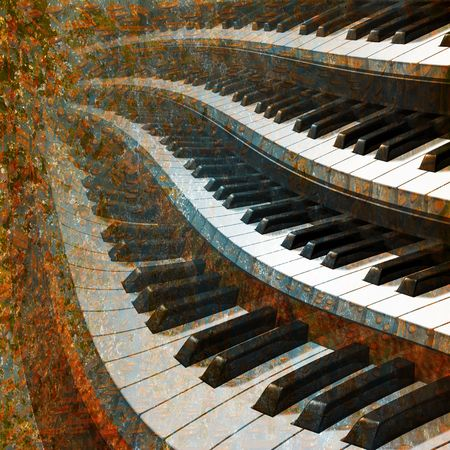 abstract musical background piano keys on a brown photo