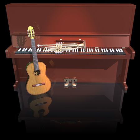 Piano trumpet and guitar on a black background photo