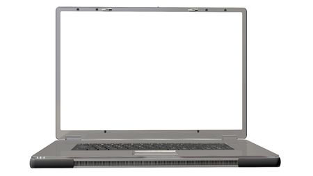 silver laptop isolated on a white background Stock Photo - 6652471