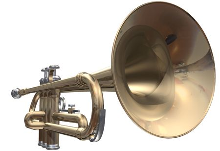 brass instrument: Isolated trumpet on a white background