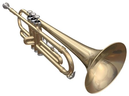 blare: Isolated trumpet on a white background