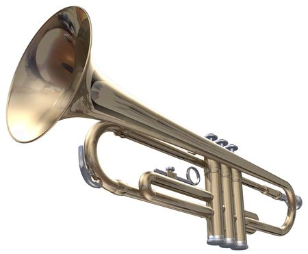 trompeta: Trompeta aislado sobre un fondo blanco