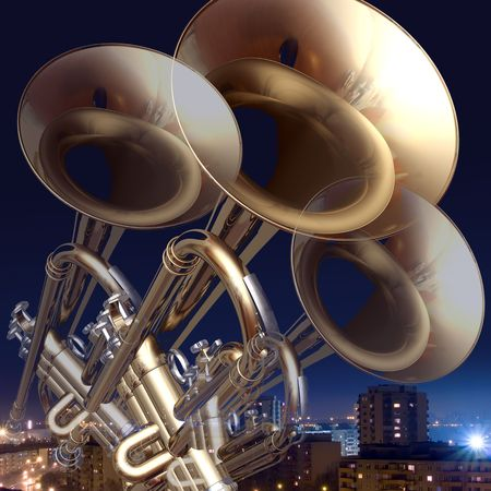 trompeta: trompeta de fondo musical abstracta sobre un fondo de la ciudad de noche