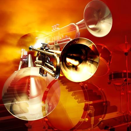 instrumentos musicales: Resumen de instrumentos musicales de jazz rock fondo