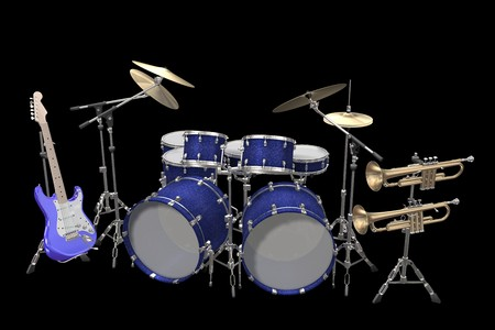 Jazz background drum kit guitar and trumpet isolated on a black background photo