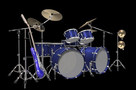 drum kit: Jazz background drum kit guitar and trumpet isolated on a black background