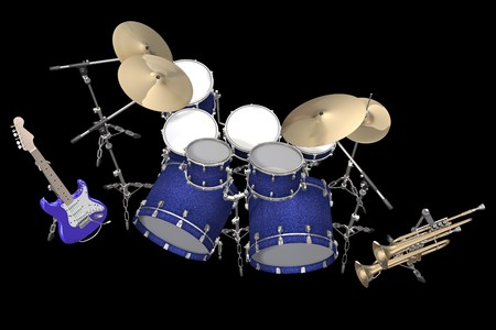 chrome base: Jazz background drum kit guitar and trumpet isolated on a black background