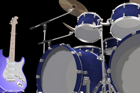 chrome base: Sfondo Jazz drum kit di chitarra e tromba isolato su uno sfondo nero  Archivio Fotografico