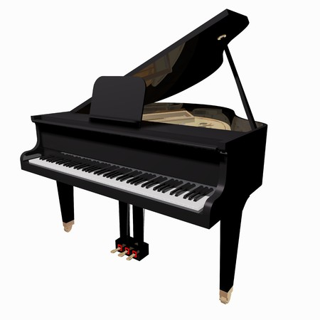 performing arts event: Grand-piano isolated on a white background Stock Photo