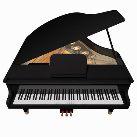 piano de cola: Grand-piano, aislado en un fondo blanco