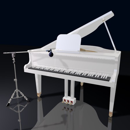 gand piano and mic on a black background photo