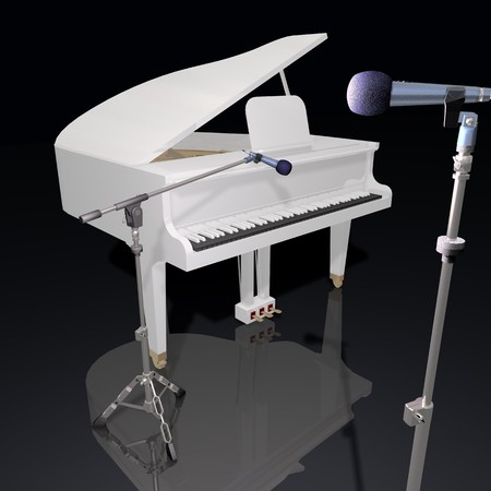 performing arts event: gand piano and mic on a black background