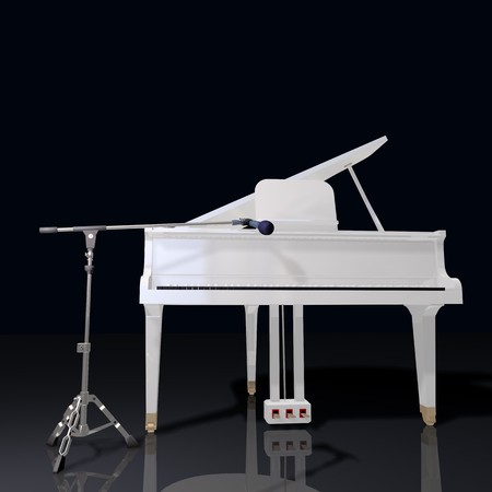 grand open: gand piano and mic on a black background
