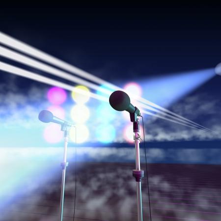 musicos: Micr�fonos en un escenario musical