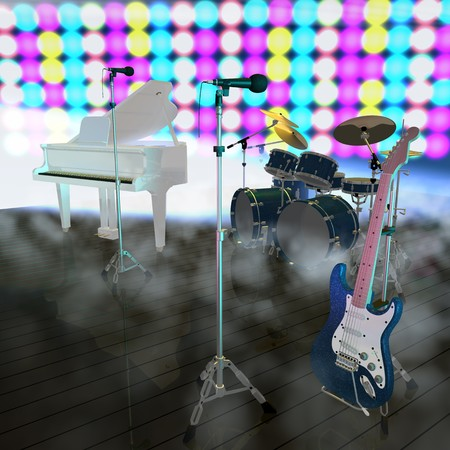 musical instruments on a music stage photo