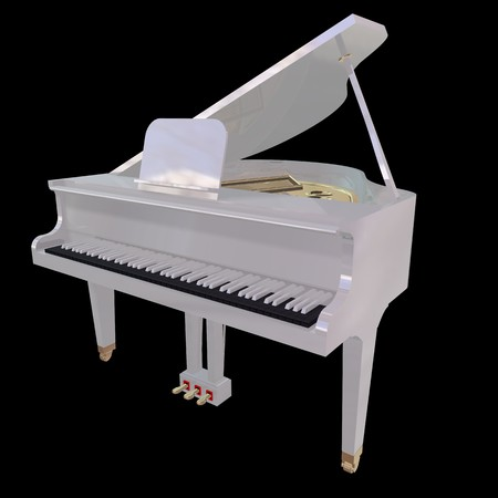 grand open: White piano isolated on a black background