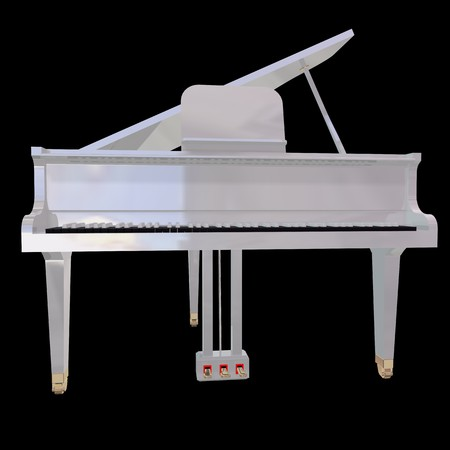 White piano isolated on a black background Stock Photo - 7574293