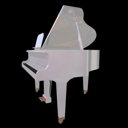 White piano isolated on a black background photo
