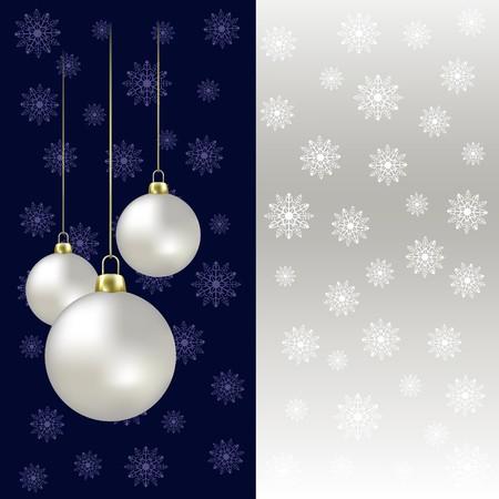 magic ball: Christmas balls and snowflakes on a grey background