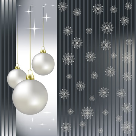 silver background: Christmas balls and snowflakes on a silver background