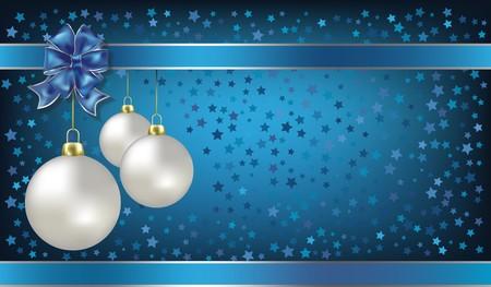 magic ball: Christmas balls and stars blue  background