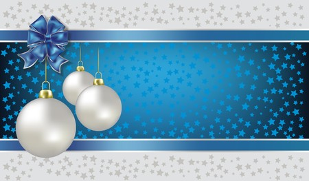 Christmas balls and stars blue   background Vector
