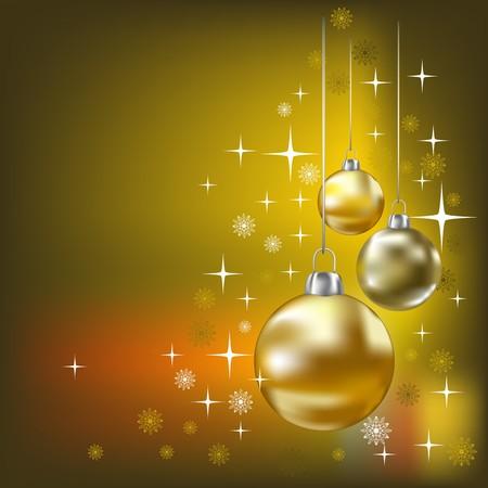 Christmas balls and stars golden  background