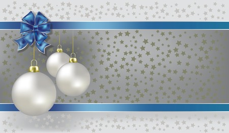 blue christmas background: Christmas balls and stars silver  background
