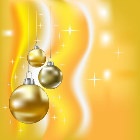 yelow: Christmas balls and stars yellow   background Illustration
