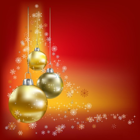 magic ball: Christmas balls and stars red  background