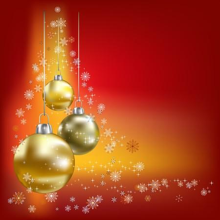 Kerst ballen en sterren rode achtergrond