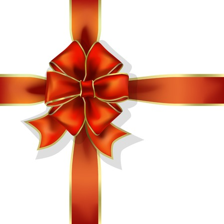 red gift ribbon and bow   object