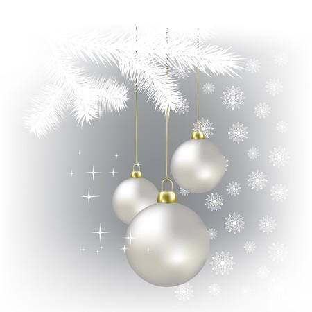 Christmas balls and snowflakes on a white background Stock Photo - 7833754