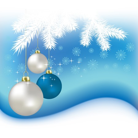 Christmas balls and snowflakes on a blue background Stock Photo - 7833757