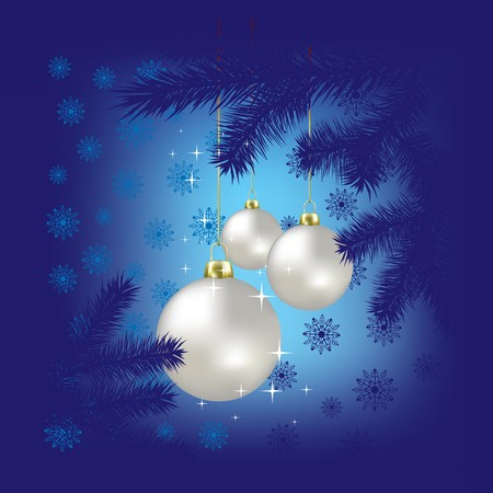 Christmas balls and snowflakes on a blue background Stock Photo - 7833761